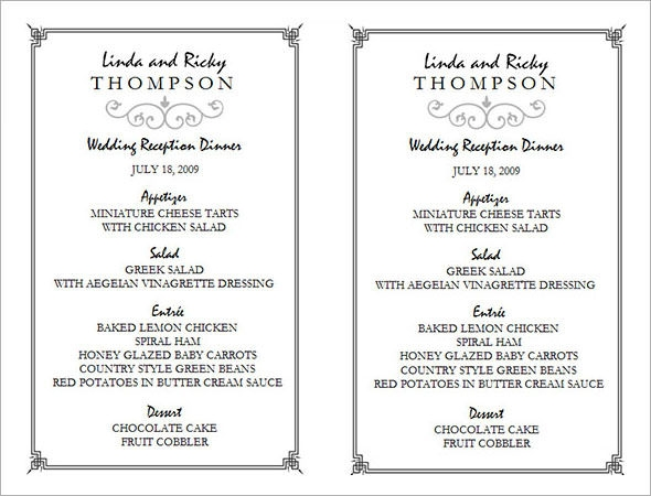 download wedding menu template1