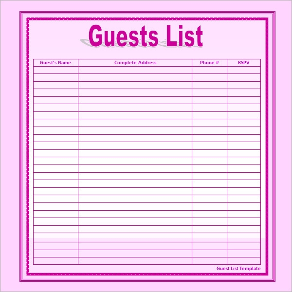Sample Wedding Guest List Template  Free Documents In Word