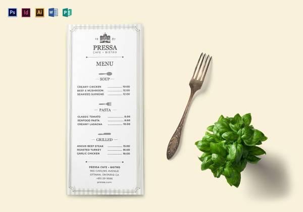 editable classy food menu template