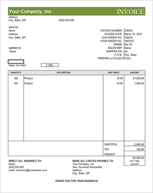 commercial invoice format in word - template, Invoice examples