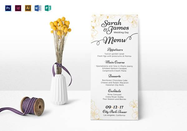 editable psd reception wedding menu template