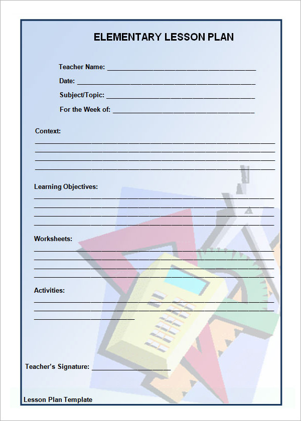 Blank Elementary Lesson Plan Template - Elementary lesson plan template