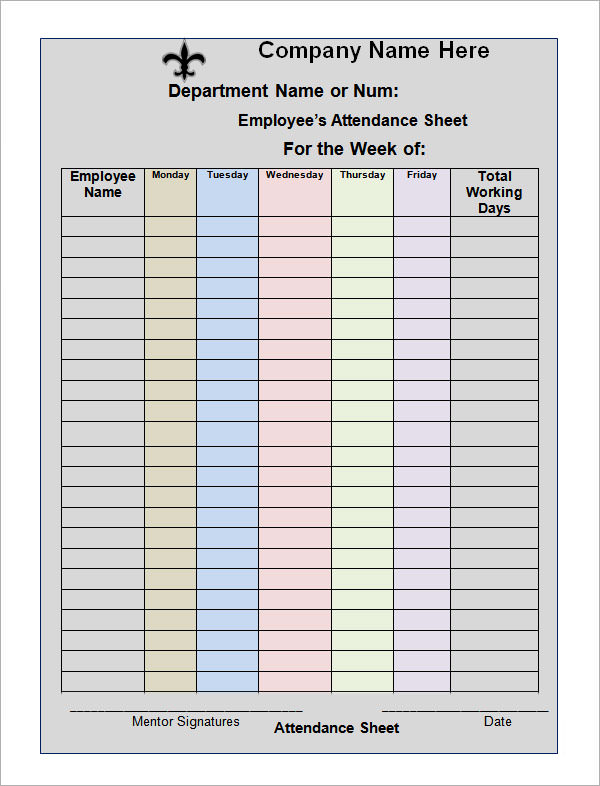 16 attendance sheet templates pdf word excel sample templates. Black Bedroom Furniture Sets. Home Design Ideas
