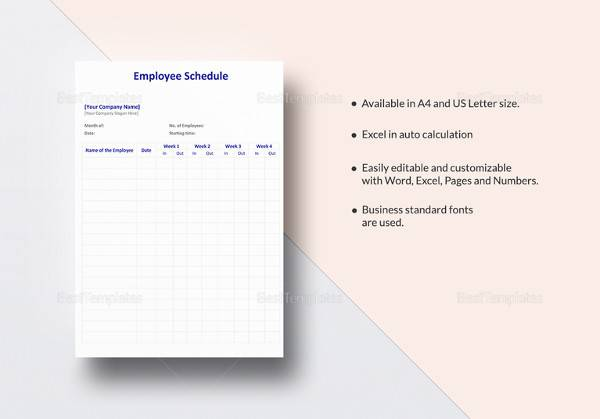 employee schedule template3