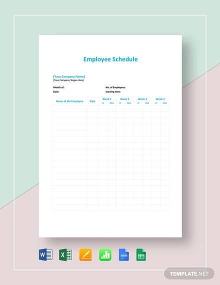 employee schedule template4