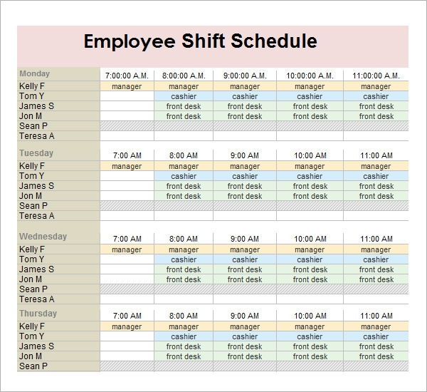 Employee Work Schedule  Free Daily Calendar Template With Times