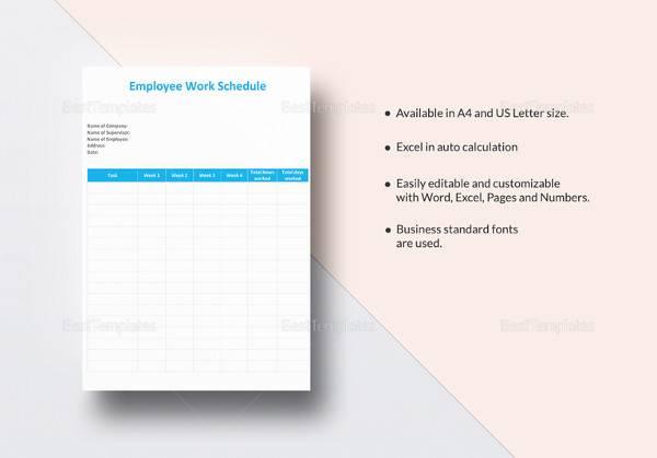 employee work schedule template4