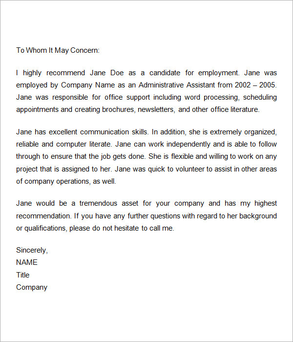 Best Reference Letter For Employment Sample Reference Letters – Sample Letter of Reference for Job
