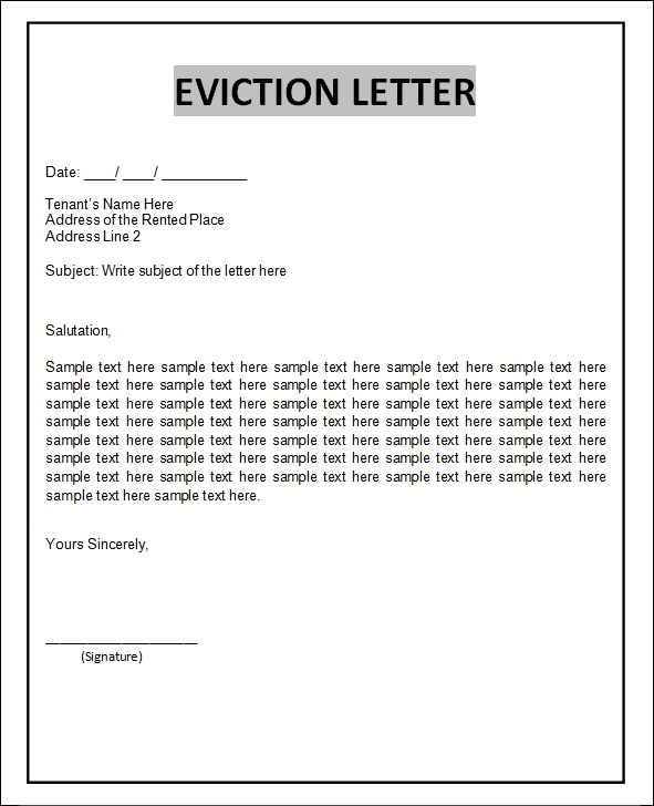 sample eviction notice letter template