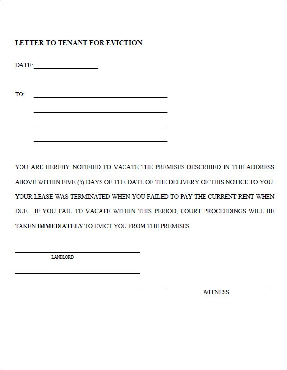 Sample Eviction Notice Template 37 Free Documents in PDF Word – Tenant Eviction Notice Form