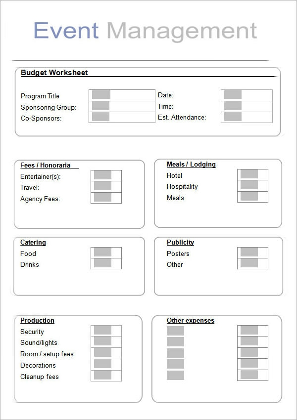 event planner planning template