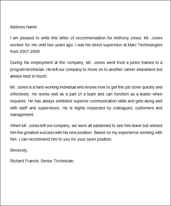 Sample Letter Of Recommendation Employment Letters Of – Sample Letter of Reference for Job