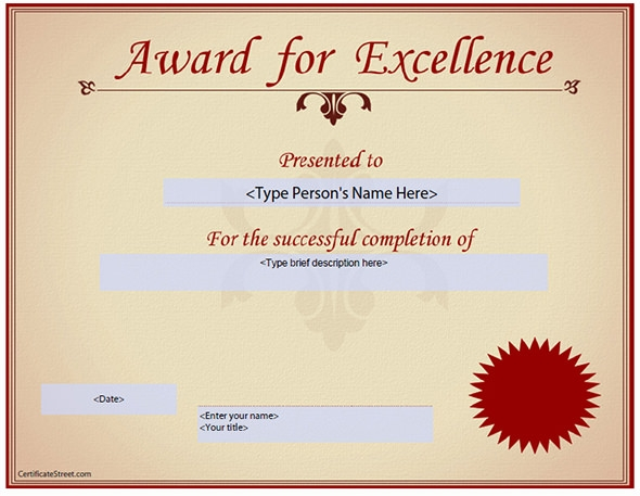 Award Certificate Template 29 Download in PDF Word Excel PSD – Certificate of Excellence Wording