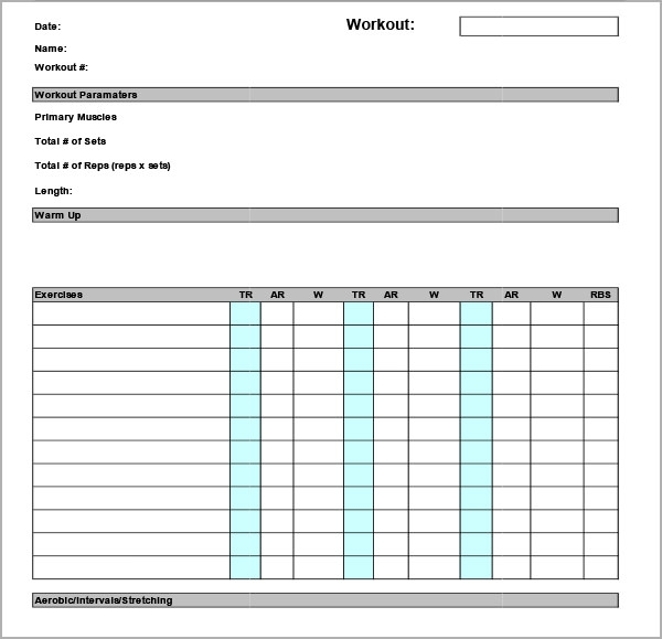 Exercise Chart Template Exerciselogtemplate Sample Workout Schedule