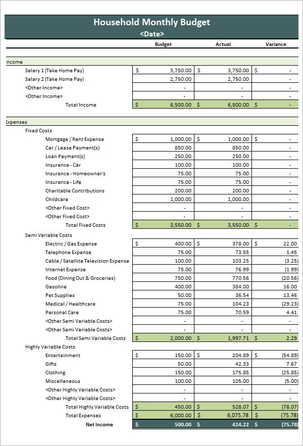 Free monthly home budget worksheet for excel download