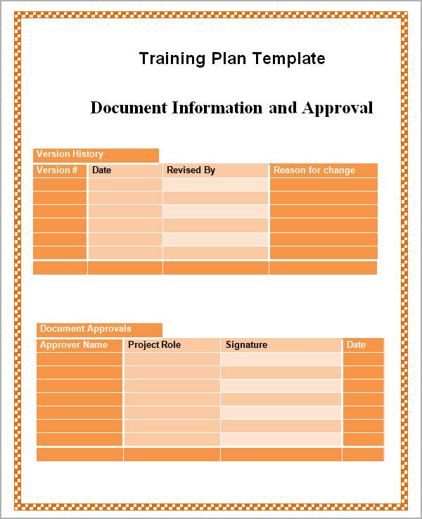 Training Plan Templates Sample