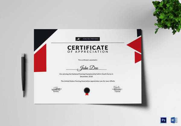fencing appreciation certificate template