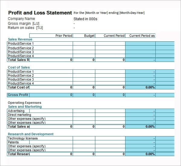 Profit And Loss Form Printable Profit And Loss Statement Form