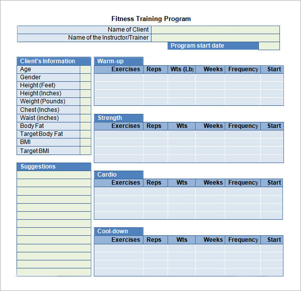 20 sample training plan templates to free download for Personal trainer workout template