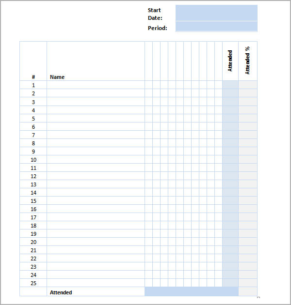 sample attendance sheet templates .
