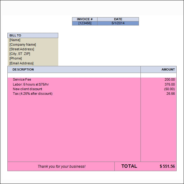 15  word invoice templates
