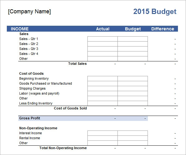 Business budget template accmission Choice Image