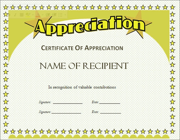 Certificate of Appreciation Template 13 Download in Word PDF – Certificates of Recognition Templates