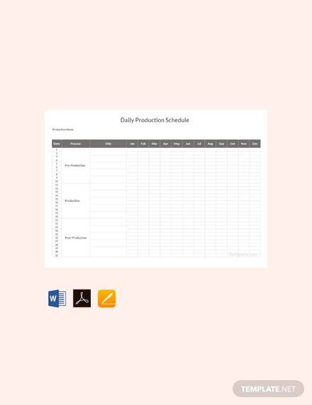 free daily production schedule template