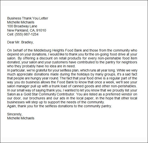 Attractive Free General Thank You Letter For Business