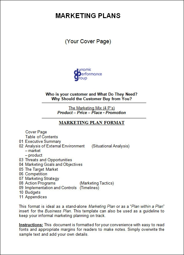 Marketing Plan Templates Sample Templates Xd4b5kZy