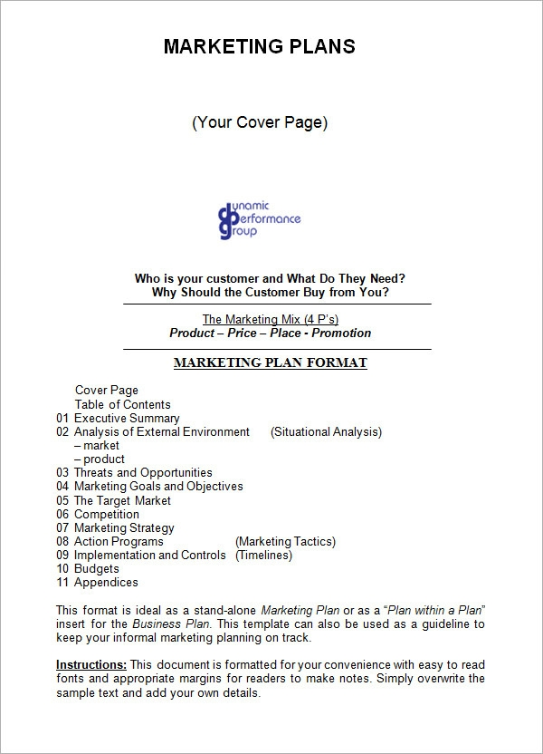 Sample Marketing Plan Template   Free Documents In Word Pdf