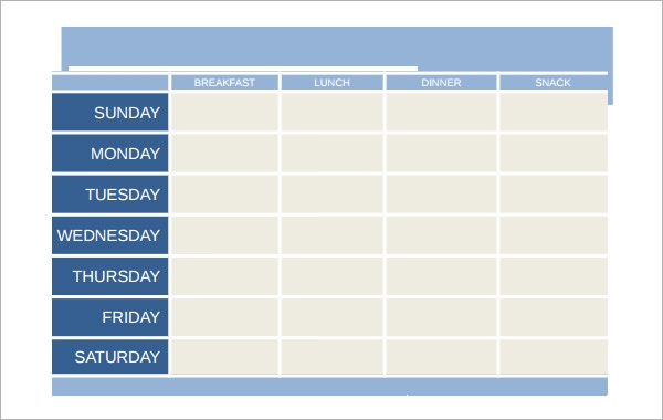 Sample Meal Planning Template 15Download Free Documents in PDF – Daily Menu Planner Template
