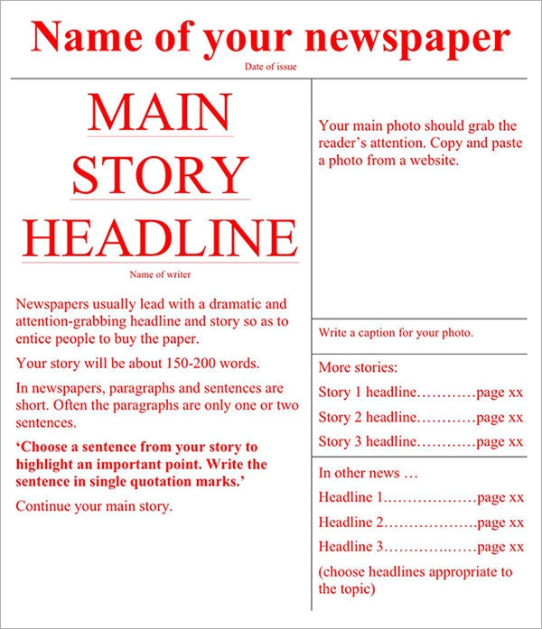 free newspaper template word1