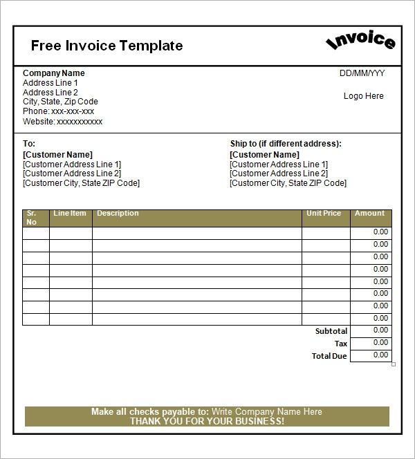 Blank Invoice Template 30 Documents in Word Excel PDF – Printable Free Invoices