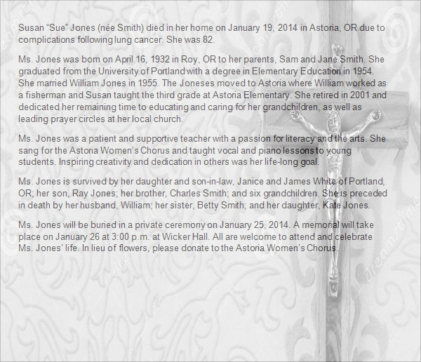 11  Obituary Templates Sample Templates QeF5uHkd