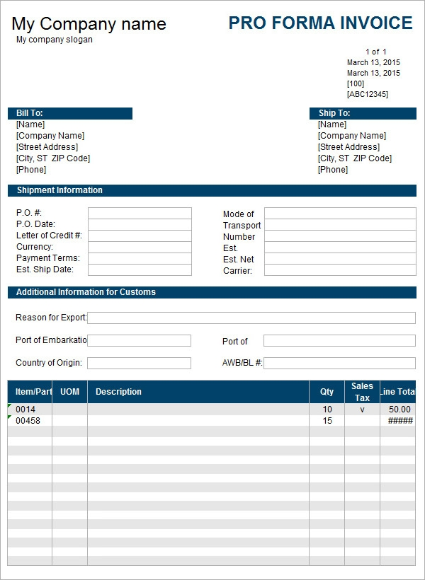 7 Proforma Invoice Templates Download Free Documents in Word – Free Invoices Download