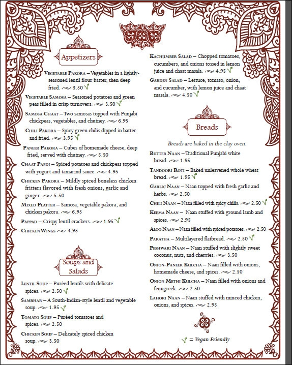 sample restaurant menu templates