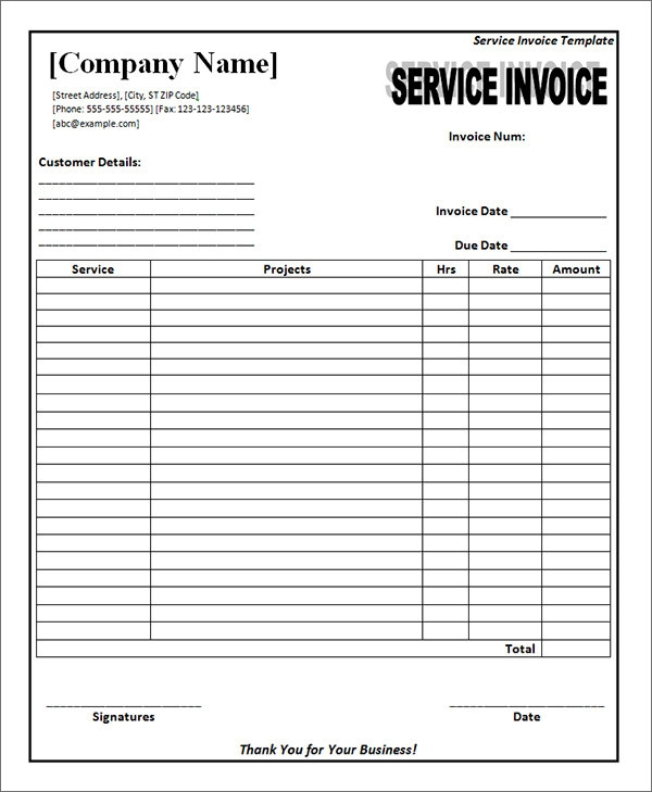 Download Service Invoice Template Free Word | Rabitah.Net