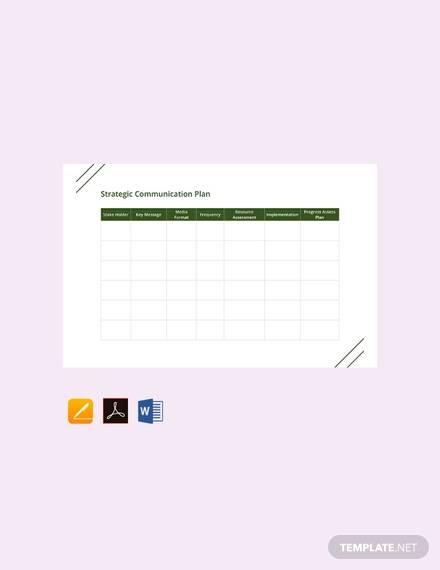 free strategic communication plan template