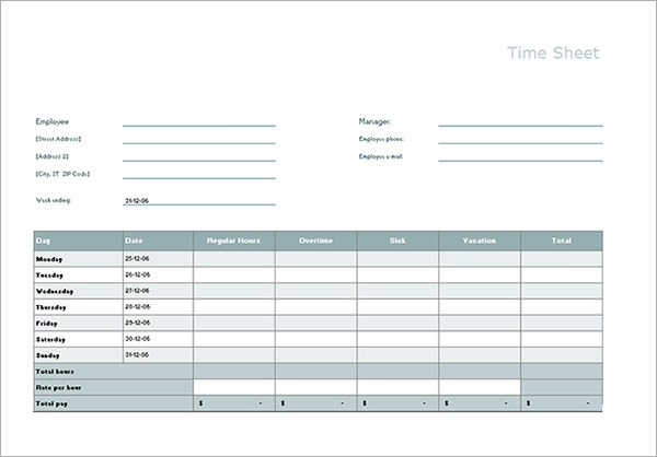 Time Sheet Calculator Templates   Download Free Documents In