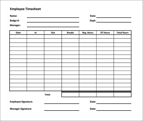 Sample employee timesheet calculator