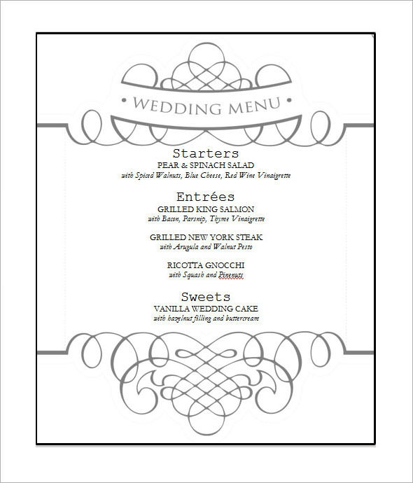 free wedding menu template2