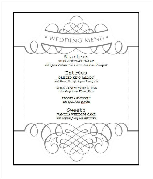 Banquet menu template wedding menu templates sample templates