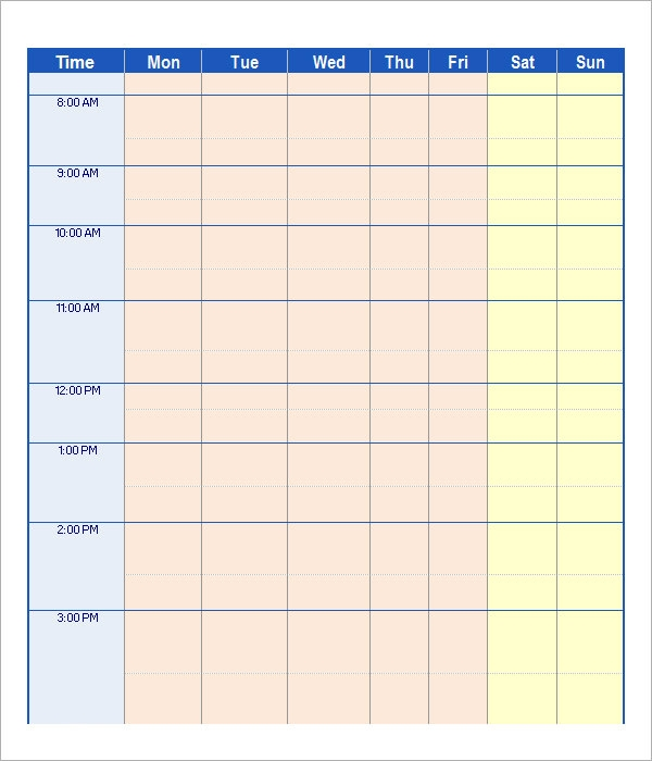 Work Schedule Template 15 Download Free Documents in PDF Word – Sample Schedule Template