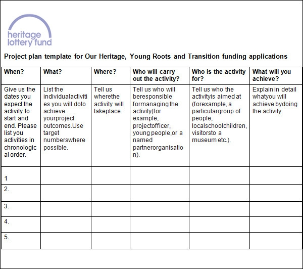 Free project plan template CI1uv72S