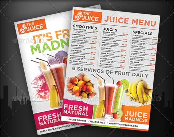 fruit juice menu flyer