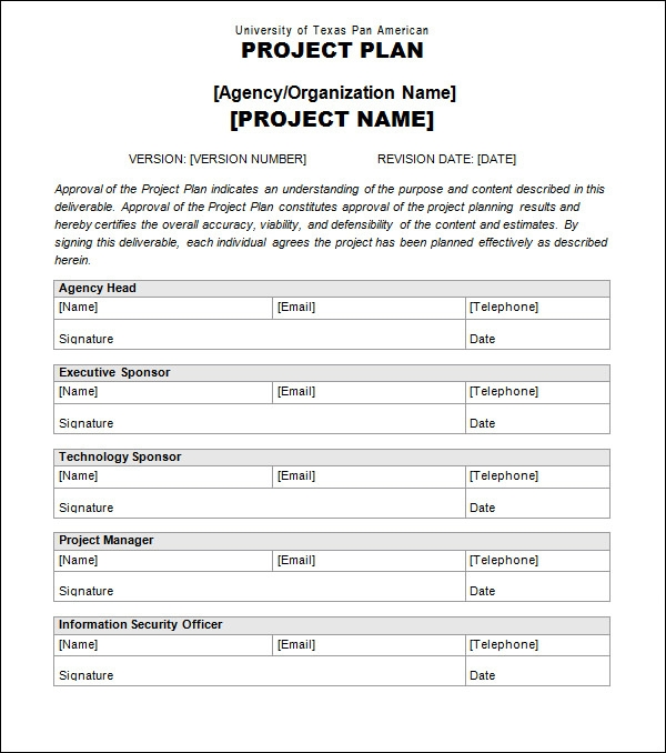 Project Plan Templates Sample Templates