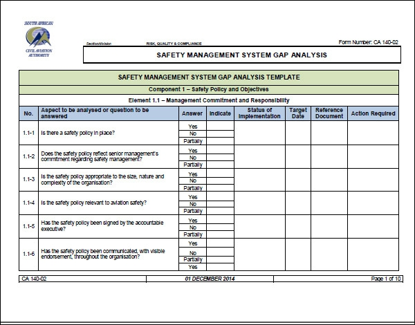 gap analysis template pdf