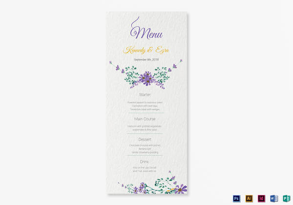 garden wedding menu card template download