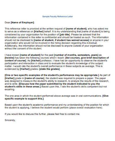 general faculty reference letter